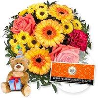 Sonnenschein und GRATIS Glückwunsch-Teddy und Geburtstagskuchenersetzer