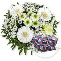 Petit Blanc und Mund-Nasen-Schutz Chrysantheme