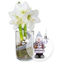 Weiße Amaryllis im Glas und Terracotta-Schneemann mit LED