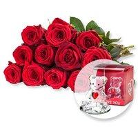 12 rote Fairtrade-Rosen und Glasbär mit Herz