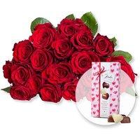18 rote Fairtrade-Rosen und Herz-Pralinen-Trio