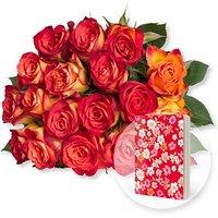 18 gelb-orangefarbene Fairtrade-Rosen und Heft Blüten rot