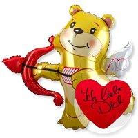 Riesenballon Amors Bär und Kuschel-Herz Ich liebe Dich