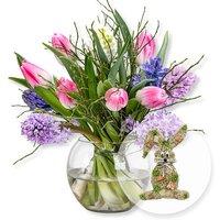 Hyazinthen-Tulpen-Arrangement und Türhänger Honey Bunny