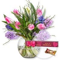 Hyazinthen-Tulpen-Arrangement und Grußbote Von Herzen