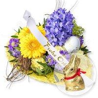 Osterglück und Schleife: Frohe Ostern! und Lindt-Goldhase