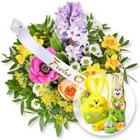 Frühlingsgruß und Schleife: Frohe Ostern! und Süßer Ostergruß