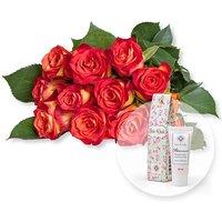 12 gelb-orangefarbene Fairtrade-Rosen und Blütenrausch Pfingstrosen-Handcreme Für Dich