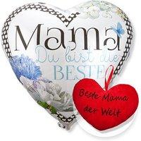 Riesenballon Mama Du bist die Beste und Kuschel-Herz Beste Mama der Welt!