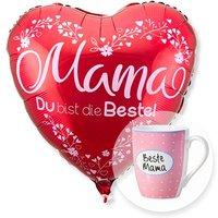 Ballon Mama du bist die Beste rot und Tasse Beste Mama