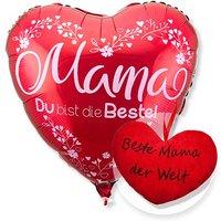 Ballon Mama du bist die Beste rot und Kuschel-Herz Beste Mama der Welt!
