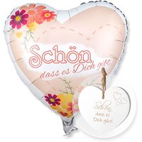 Ballon Schön, dass es dich gibt! und Vintage-Herz Schön, dass es Dich gibt!