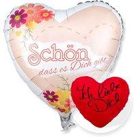 Ballon Schön, dass es dich gibt! und Kuschel-Herz Ich liebe Dich