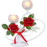 Teelichthalter mit Rosen-Deko
