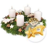 Adventskranz Goldene Zeit (30cm) und Ferrero Rocher Sternschnuppe