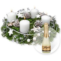 Adventskranz Weiße Weihnacht (30cm) und Freixenet Semi Seco