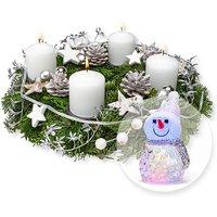Adventskranz Weiße Weihnacht (30cm) und LED-Schneemann