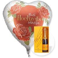 Riesenballon Beste Hochzeitswünsche und Champagner Veuve Clicquot