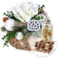 Adventsgesteck Amaryllis Silber und Belgische Pralinen