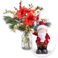Winterglück und Terracotta-Weihnachtsmann mit LED
