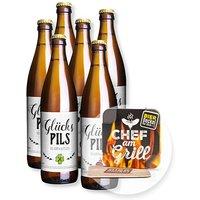 Sixpack Glücks-Pils und Bierdeckel Chef am Grill