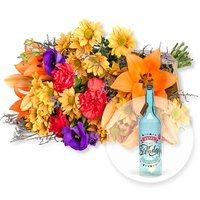 Samba und Blaue Glasflasche Happy Birthday mit LED