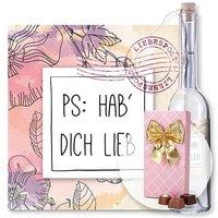 Flaschenpost PS: Hab dich lieb und Belgische Pralinen-Auslese