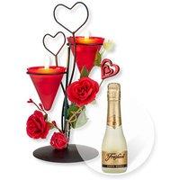 Teelichthalter Herz mit Rosen-Deko und Freixenet Semi Seco