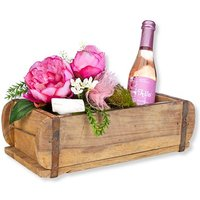 Rosa Deko-Gruß in rustikaler Holzschatulle mit Kirschblüten-Secco