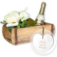 Deko-Gruß in rustikaler Holzschatulle mit Freixenet und Vintage-Herz Schön, dass es Dich gibt!