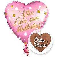 Ballon Alles Liebe zum Muttertag und 3D-Holz-Herz Beste Mama