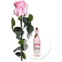 Rosafarbene Infinity-Rose und Pinke Glasflasche Happy Birthday mit LED
