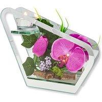 Glas-Windlicht mit Orchideen-Deko