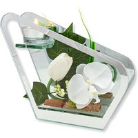 Glas-Windlicht mit weißer Orchideen-Deko