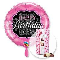 Ballon Happy Birthday Pink and Black und Herz-Pralinen-Trio
