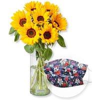 Sonnenblumen-Glück und Mund-Nasen-Schutz Chrysantheme