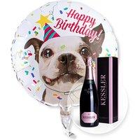 Ballon Happy Birthday Hund und Kessler Rose Sekt