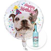 Ballon Happy Birthday Hund und Blaue Glasflasche Happy Birthday mit LED