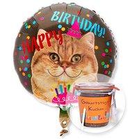 Ballon Happy Birthday Katze und Kuchen im Glas Geburtstag