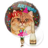 Ballon Happy Birthday Katze und Freixenet Semi Seco