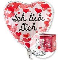 Ballon Ich liebe Dich Herzen und Glasbär mit Herz