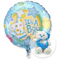 Ballon Babyboy und Plüsch-Bär Schlafmütze blau