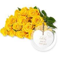 15 gelbe Fairtrade-Rosen und Vintage-Herz Schön, dass es Dich gibt!