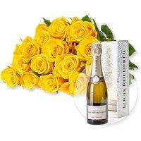 15 gelbe Fairtrade-Rosen und Champagner Louis Roederer Brut Premier