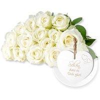 15 weiße Fairtrade-Rosen und Vintage-Herz Schön, dass es Dich gibt!