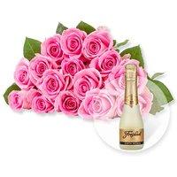 15 rosafarbene Fairtrade-Rosen und Freixenet Semi Seco