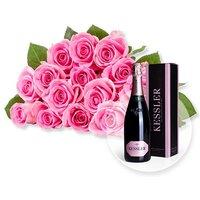 15 rosafarbene Fairtrade-Rosen und Kessler Rose Sekt