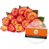 15 gelb-orangefarbene Fairtrade-Rosen und Schokolade Geburtstagskuchenersetzer