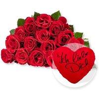 15 rote Fairtrade-Rosen und Kuschel-Herz Ich liebe Dich