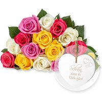 15 bunte Fairtrade-Rosen und Vintage-Herz Schön, dass es Dich gibt!